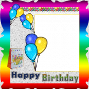 Personalize Your Birthday Photo Frame With Custom Name. Colorful Balloons Photo Frame For Birthday With Your Photo. Create Birthday Frame With Your Picture
