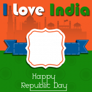 Republic Day Celebration Frame Greeting With Photo and Name. Personalize Indian Flag Greeting With Photo Online. Edit Gantantra Divas Photo Frame With Name Online