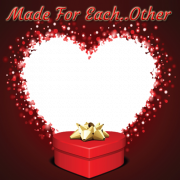 Create Made For Each Other Heart Photo Frame Online For Valentines Day. Happy Valentines Day Love Heart Frame With Gifts. Online Valentines Day Frame Maker