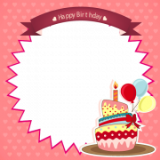 Happy Birthday Wishes Frame With Cake and Custom Photo. Generate Birthday Photo Frame With Photo. Online Photo Frame Maker For Birthday. Personalize Bday Frames